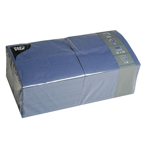Serviette 3 plis pliage 1/8 33 cm x 33 cm bleu foncé par 1000