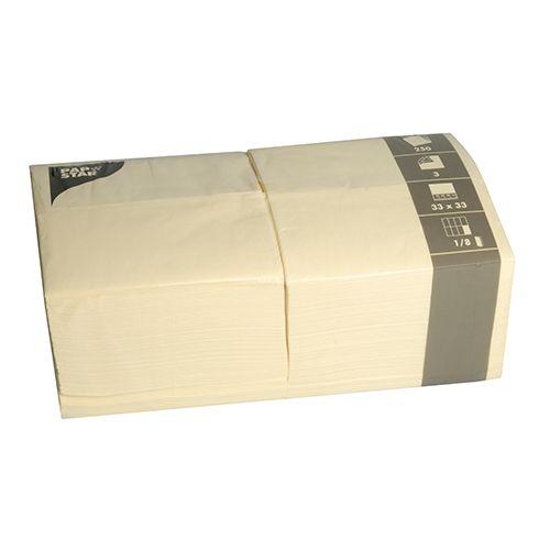 Serviette 3 plis pliage 1/8 33 cm x 33 cm crème par 1000