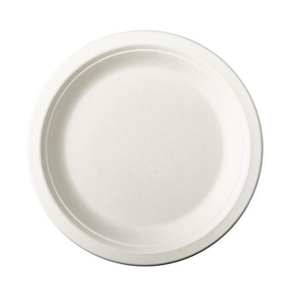Assiette en canne à sucre ''pure'' ronde Ø 18 cm · 2 cm blanc par 500