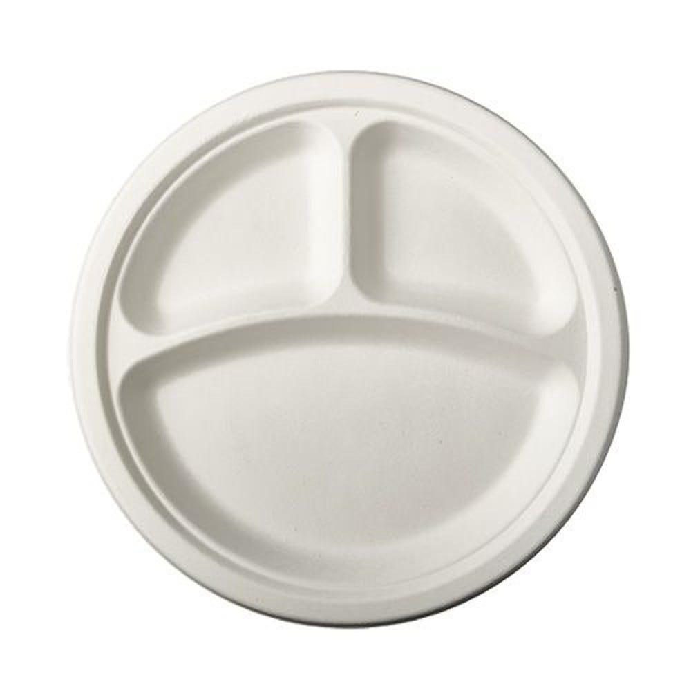 Assiette en canne à sucre ''pure'' ronde 3 compart. Ø 23 cm · 2 cm blanc par 500