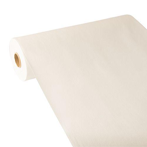 Chemin de table aspect tissu ''ROYAL Collection'' 24 m x 40 cm blanc par 4