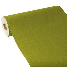 Chemin de table aspect tissu ''ROYAL Collection'' 24 m x 40 cm vert olive par 4