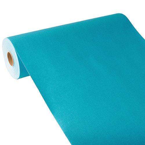 Chemin de table aspect tissu ''ROYAL Collection'' 24 m x 40 cm turquoise par 4