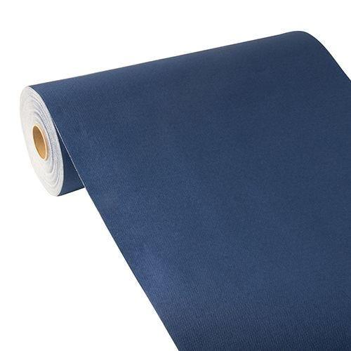 Chemin de table aspect tissu ''ROYAL Collection'' 24 m x 40 cm bleu foncé par 4