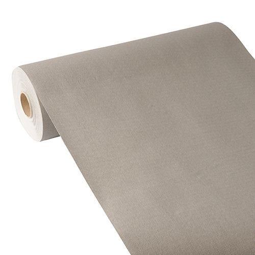 Chemin de table aspect tissu ''ROYAL Collection'' 24 m x 40 cm gris par 4