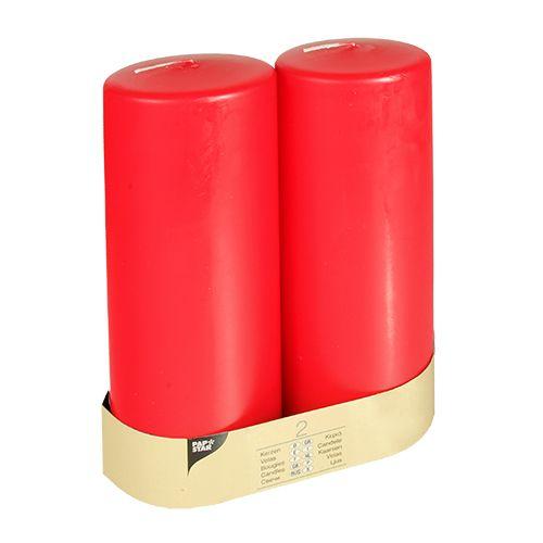 Bougie cylindrique Ø 80 mm · 220 mm rouge à tête plate par 12