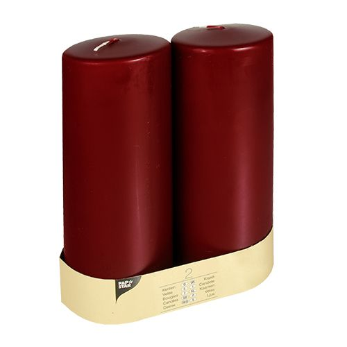Bougie cylindrique Ø 80 mm · 220 mm bordeaux à tête plate par 12