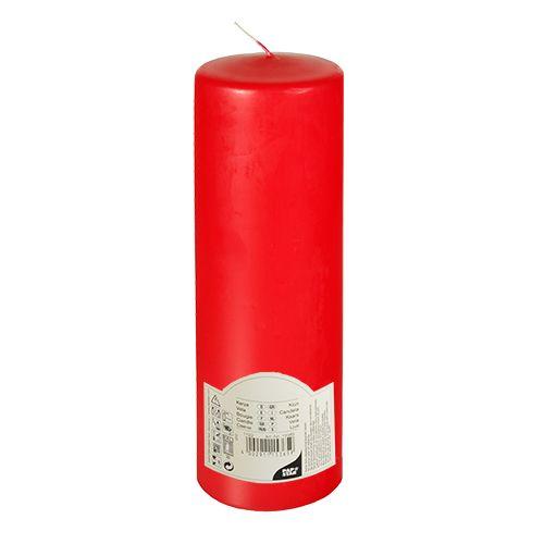 Bougie cylindrique Ø 80 mm · 250 mm rouge à tête plate par 6