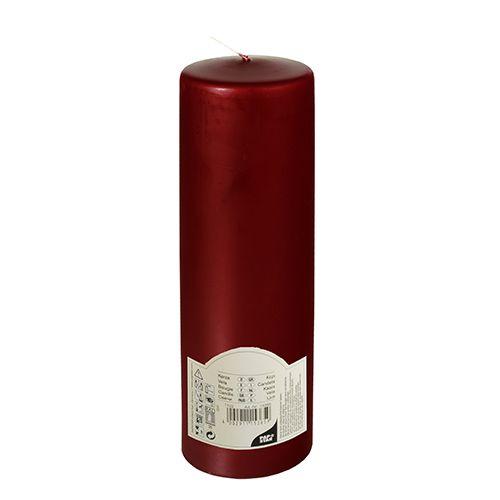 Bougie cylindrique Ø 80 mm · 250 mm bordeaux à tête plate par 6