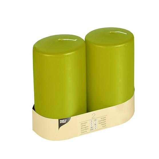Bougie cylindrique Ø 80 mm · 150 mm kiwi à tête plate par 12