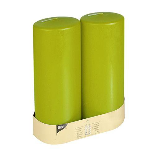 Bougie cylindrique Ø 80 mm · 220 mm kiwi à tête plate par 12