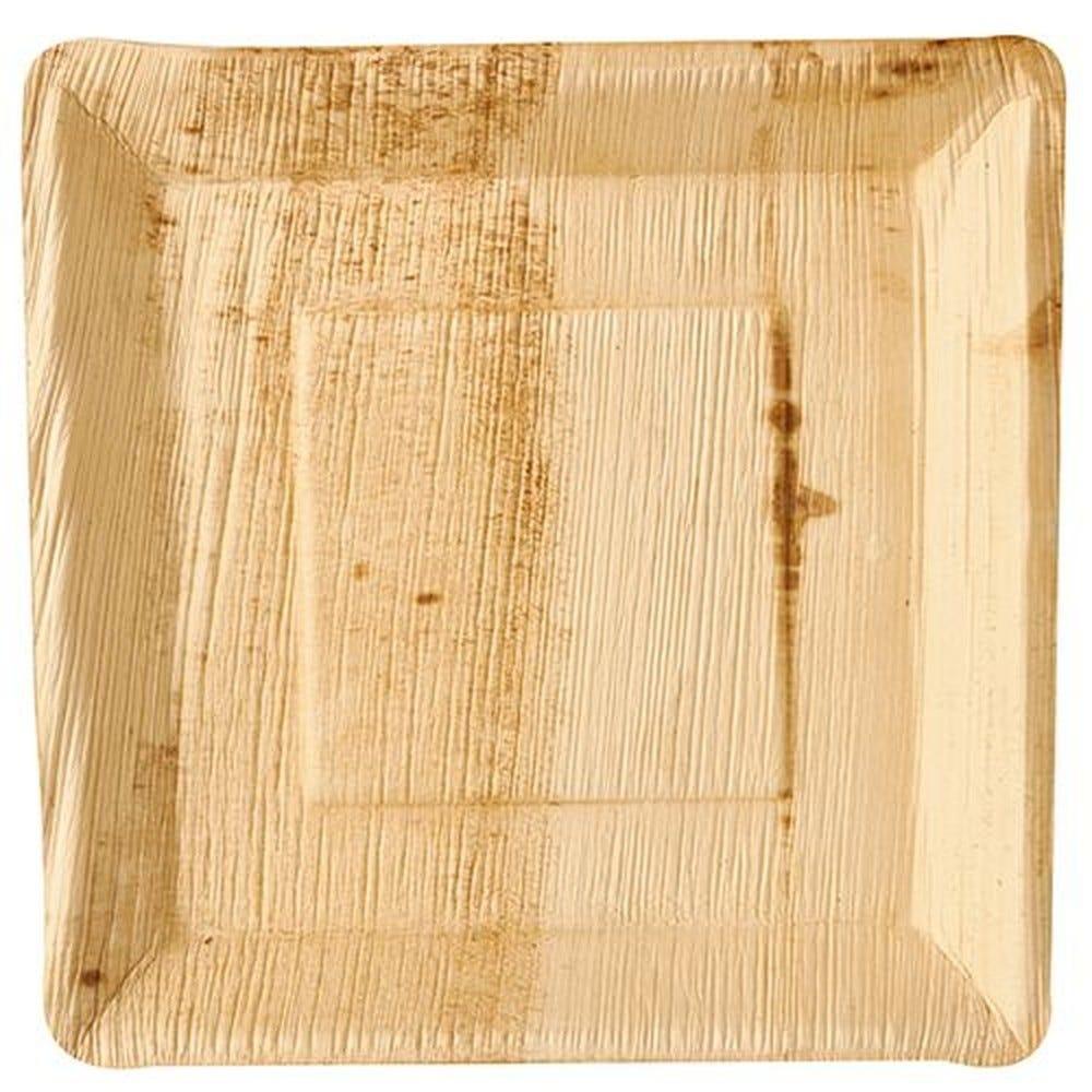 Assiette en Feuille de palmier ''pure'' carrée 25 cm x 25 cm x 2,5 cm par 100