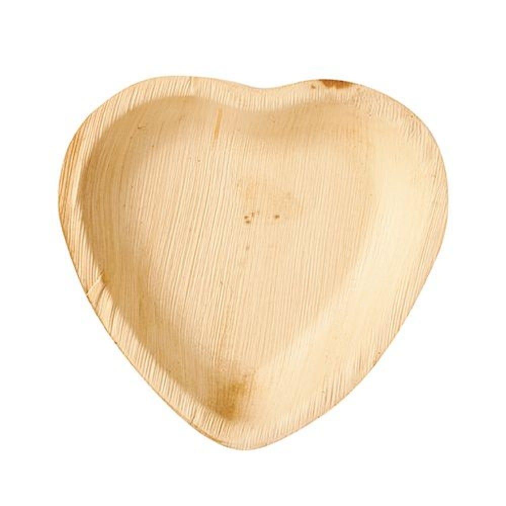 Assiette en Feuille de palmier ''pure'' 15,5 cm x 3 cm ''Coeur'' par 100