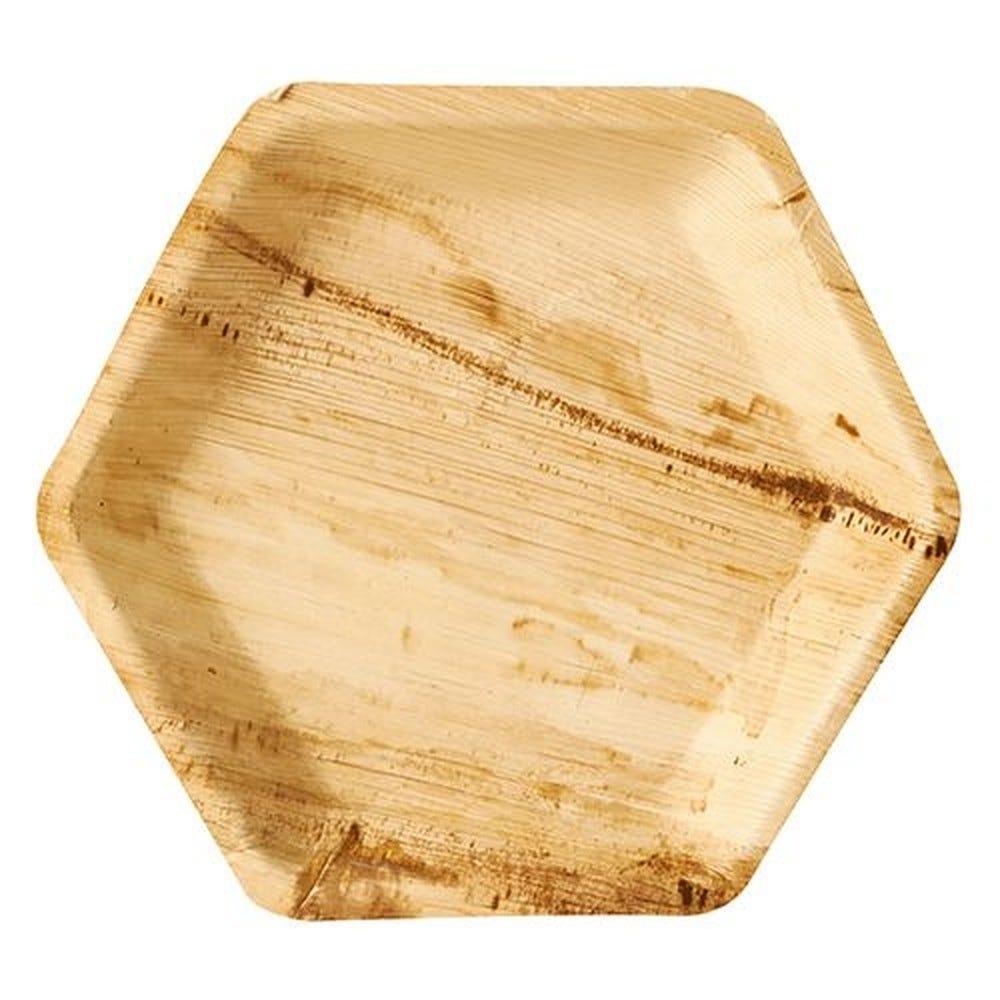 Assiette en Feuille de palmier ''pure'' hexagonale 23,5 cm x 3 cm par 100