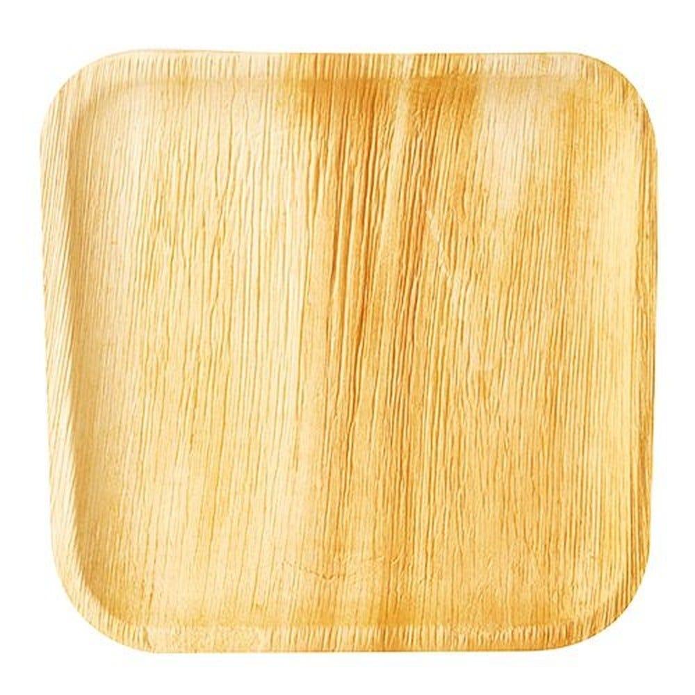 Assiette en Feuille de palmier 'pure' carrée 25,5 cm x 25,5 cm x 1,5 cm par 100