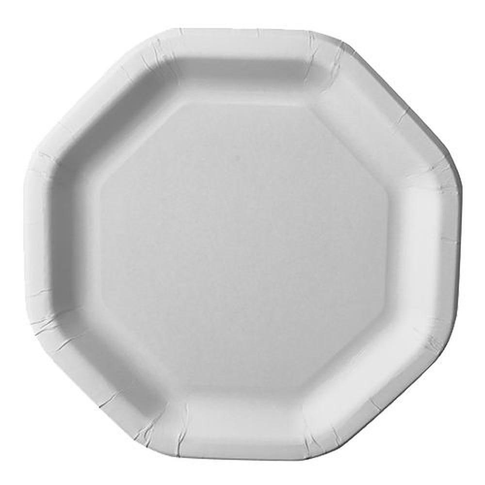 Assiette en carton ''pure'' octogonale 23,5 cm x 23,5 cm blanc par 500