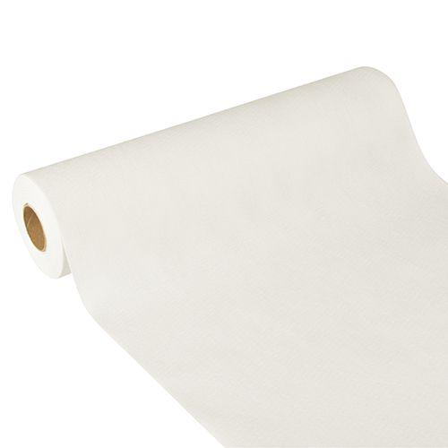 Chemin de table aspect textile ''soft selection plus'' 24 m x 40 cm blanc par 4