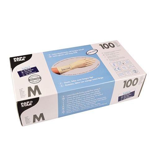Gant en latex, non poudré blanc taille M avec longue tige par 1000 (photo)
