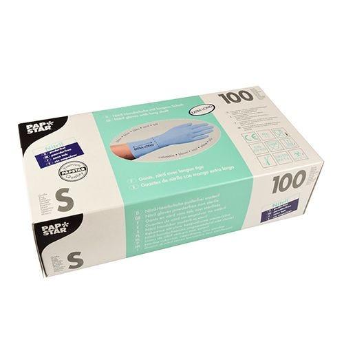 Gant d'examen en Nitrile, sans poudre bleu taille S avec longue tige par 1000 (photo)