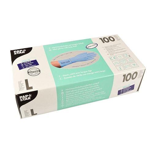Gant d'examen en Nitrile, sans poudre bleu taille L avec longue tige par 1000 (photo)