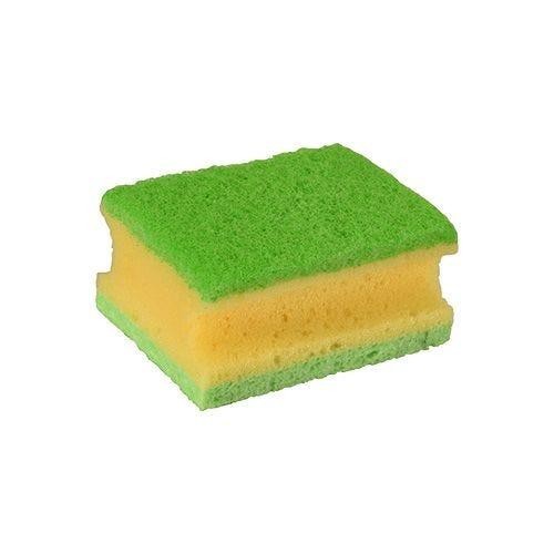 Éponge 9,5 cm x 7 cm x 4,5 cm jaune/vert avec rainure, 3-plis par 128 (photo)