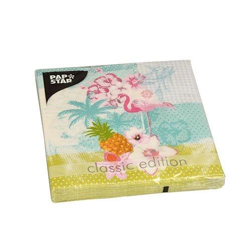Serviette 3 plis pliage 1/4 33 cm x 33 cm ''Flamingo'' par 200