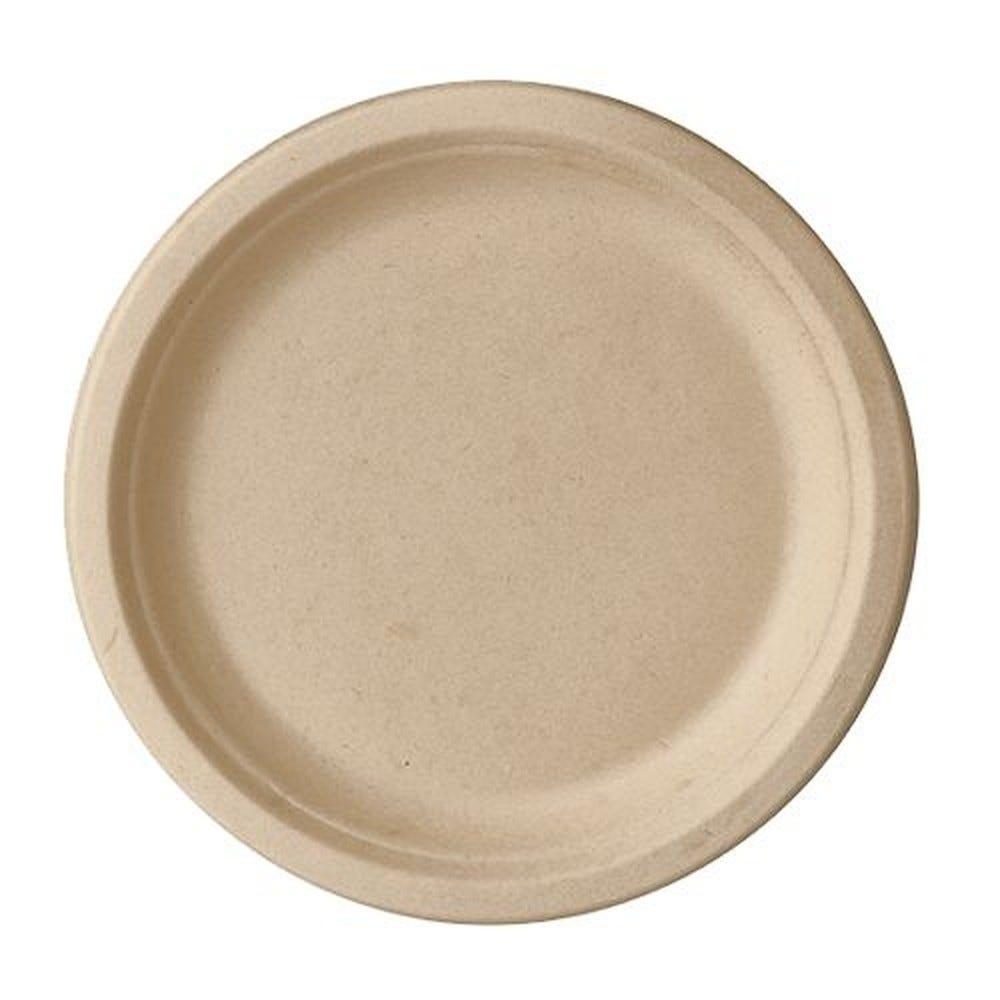 Assiette en canne à sucre ''pure'' ronde Ø 23 cm · 2 cm naturel par 500