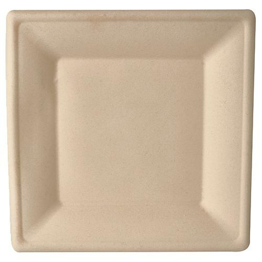 Assiette en canne à sucre ''pure'' carrée 26 cm x 26 cm naturel par 400