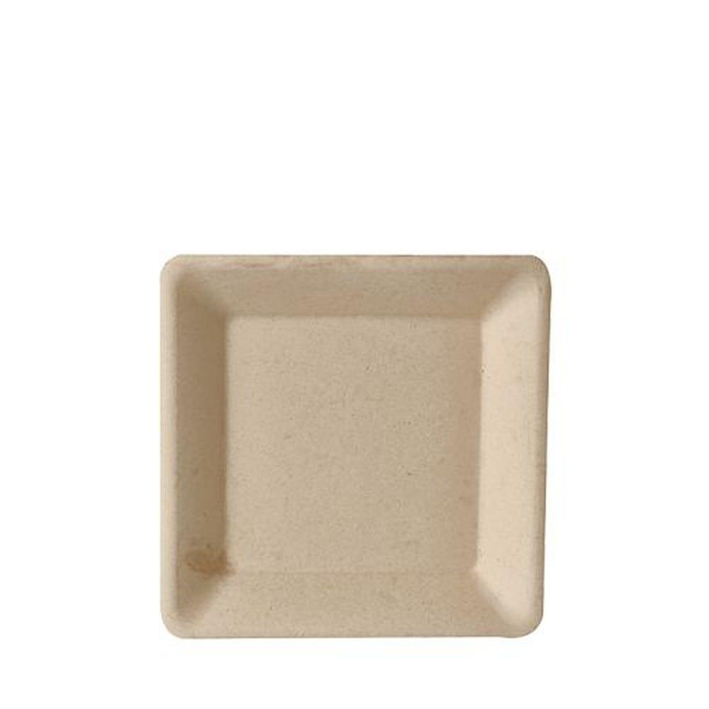 Assiette en canne à sucre ''pure'' carrée 15,5 cm x 15,5 cm naturel par 500