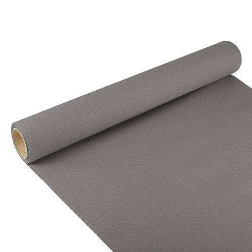 Chemin de table ''ROYAL Collection'' 3 m x 40 cm gris en rouleau par 6