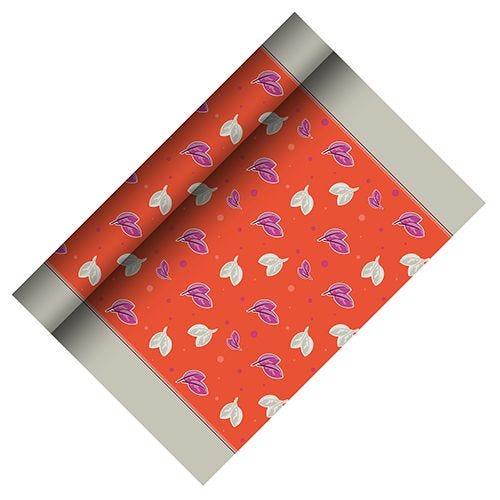 Chemin de table, aspect textile, Airlaid 3 m x 40 cm ''Rosa'' par 6