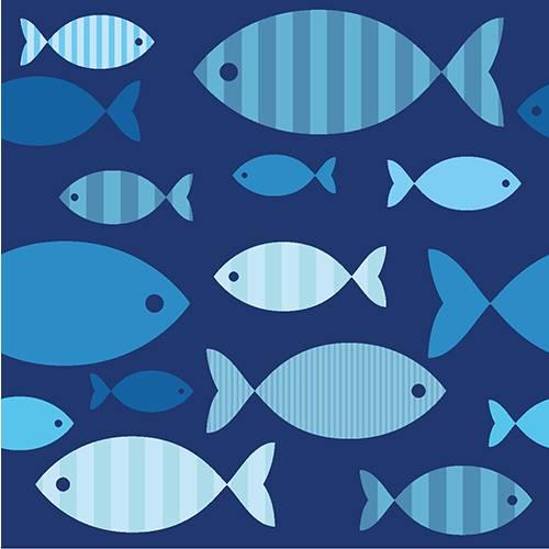 Serviette 3 plis pliage 1/4 33 cm x 33 cm ''Blue Fish'' par 200
