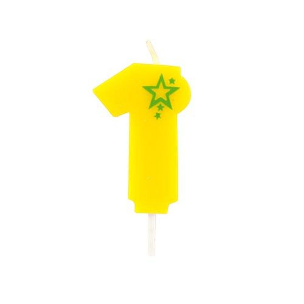 Bougie mini 6,8 cm avec chiffre ''1'' jaune par 15