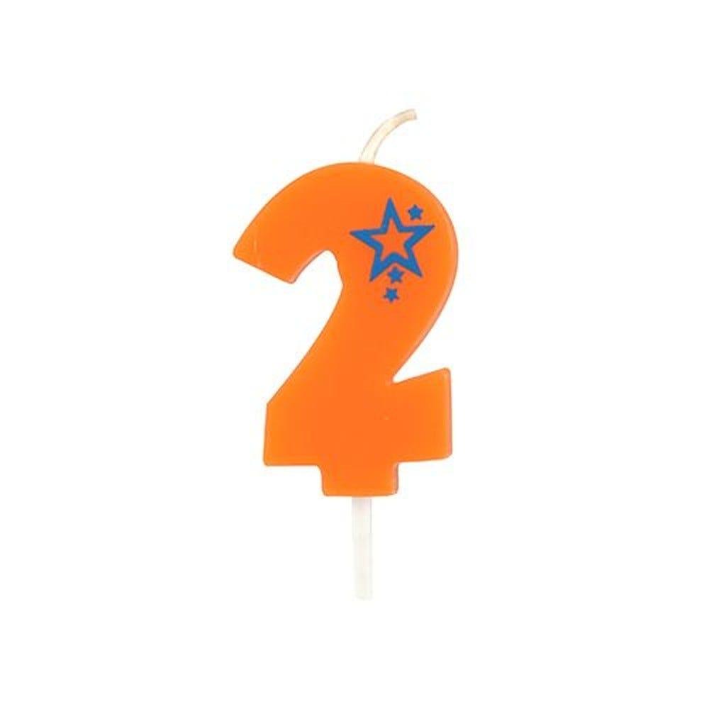 Bougie mini 6,8 cm avec chiffre ''2'' orange par 15