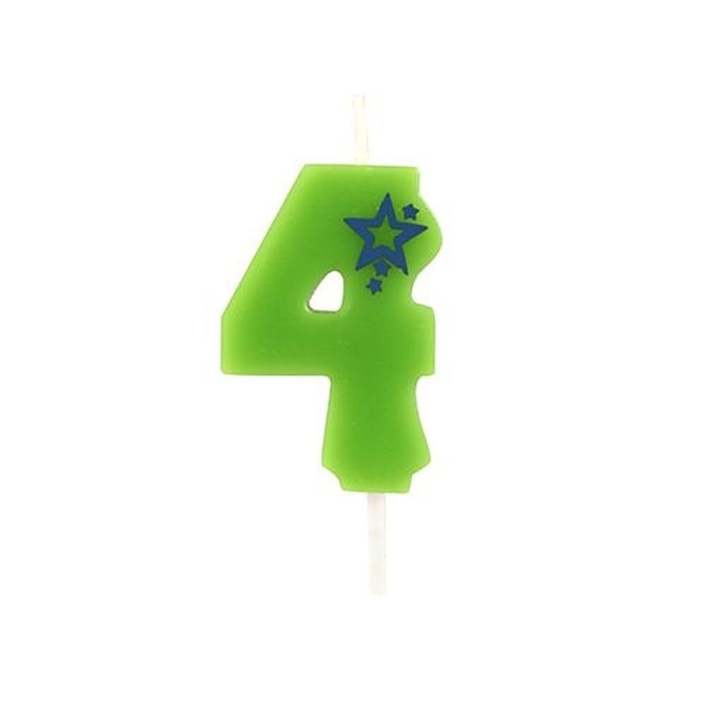 Bougie mini 6,8 cm avec chiffre ''4'' vert par 15