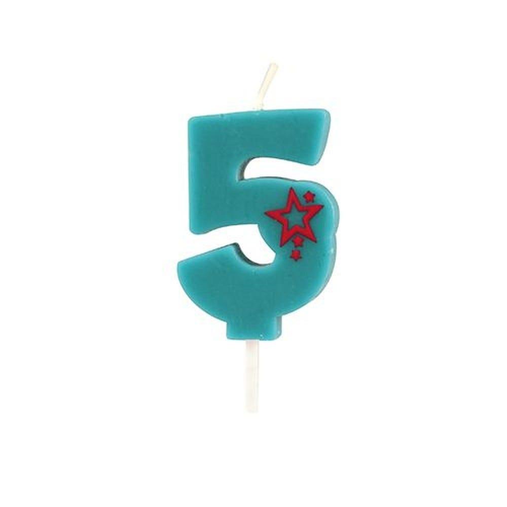 Bougie mini 6,8 cm avec chiffre ''5'' bleu par 15