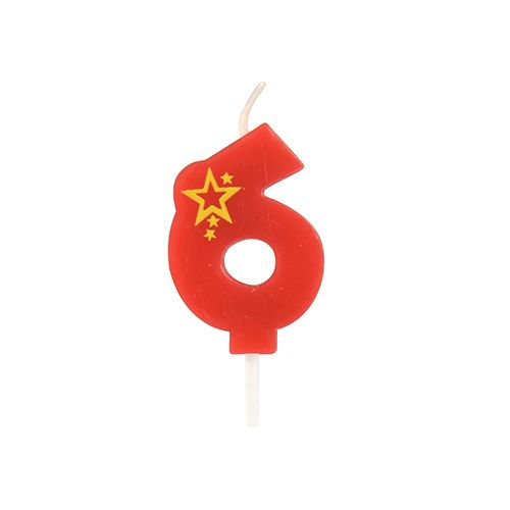 Bougie mini 6,8 cm avec chiffre ''6'' rouge par 15