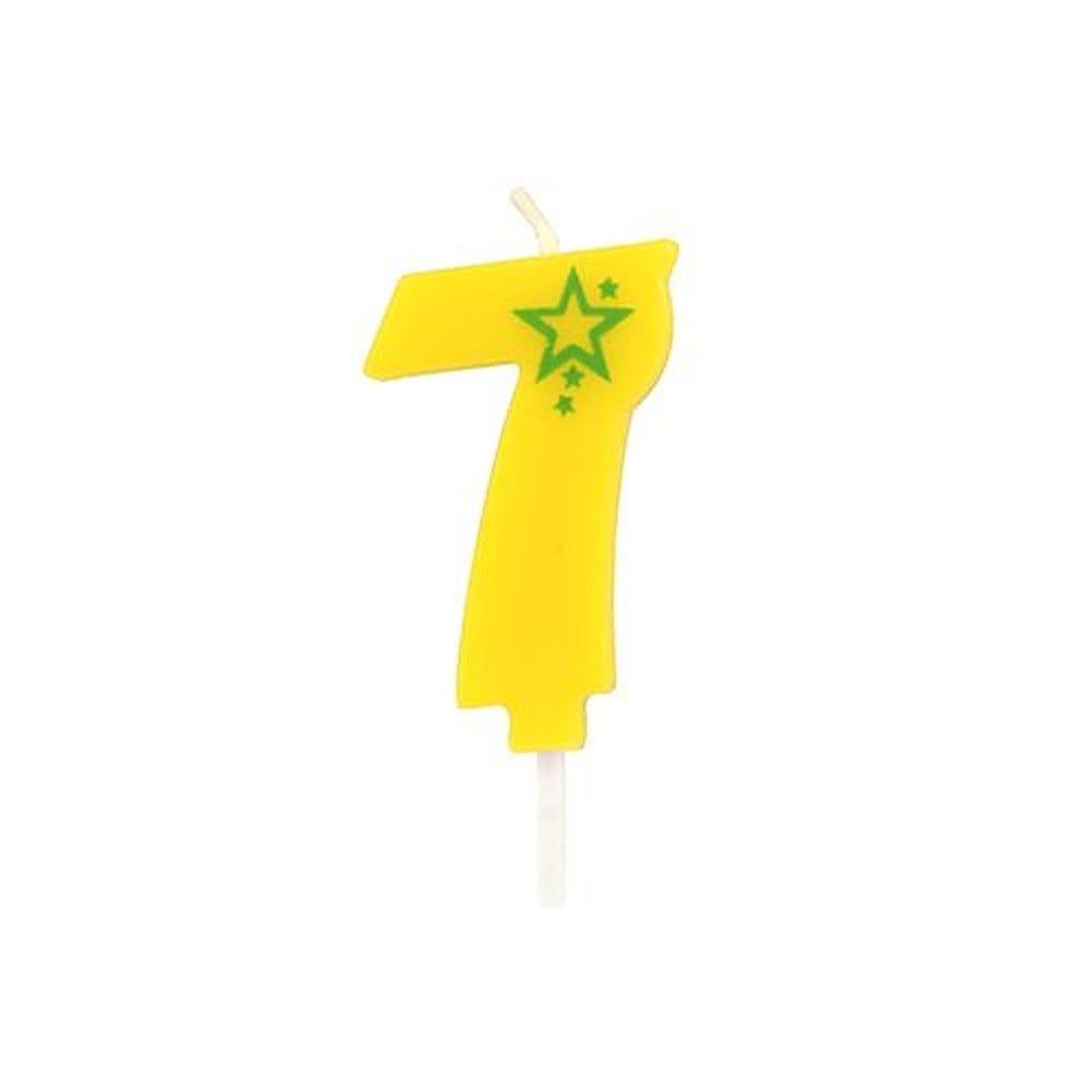 Bougie mini 6,8 cm avec chiffre ''7'' jaune par 15