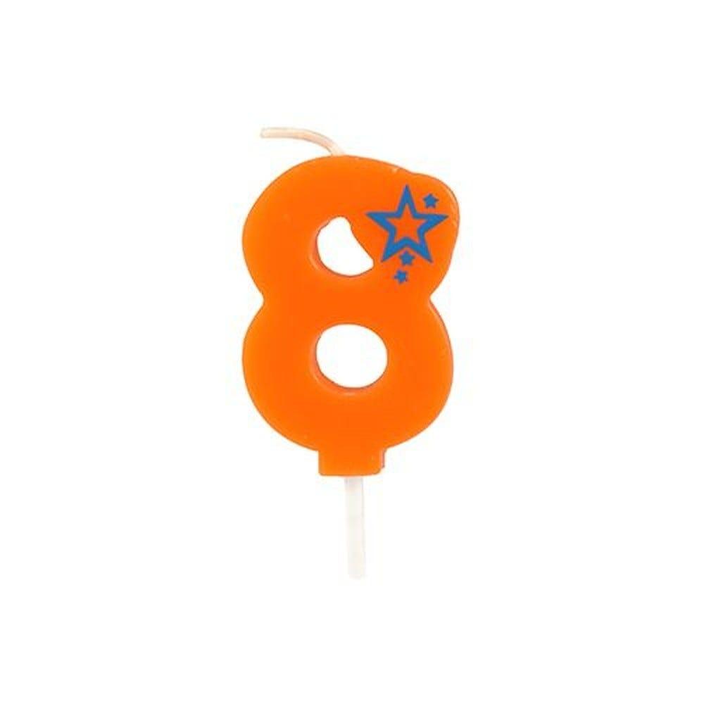 Bougie mini 6,8 cm avec chiffre ''8'' orange par 15
