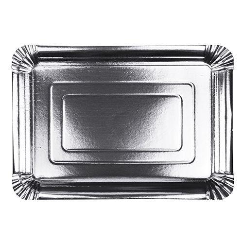 Assiette carton rectangulaire 24 cm x 33 cm couvert argent par 120