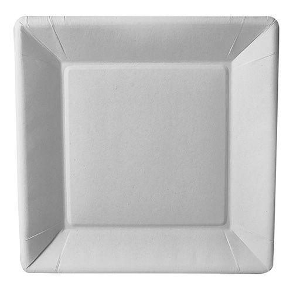 Assiette en carton ''pure'' carrée 22,5 cm x 22,5 cm x 1,8 cm blanc par 500