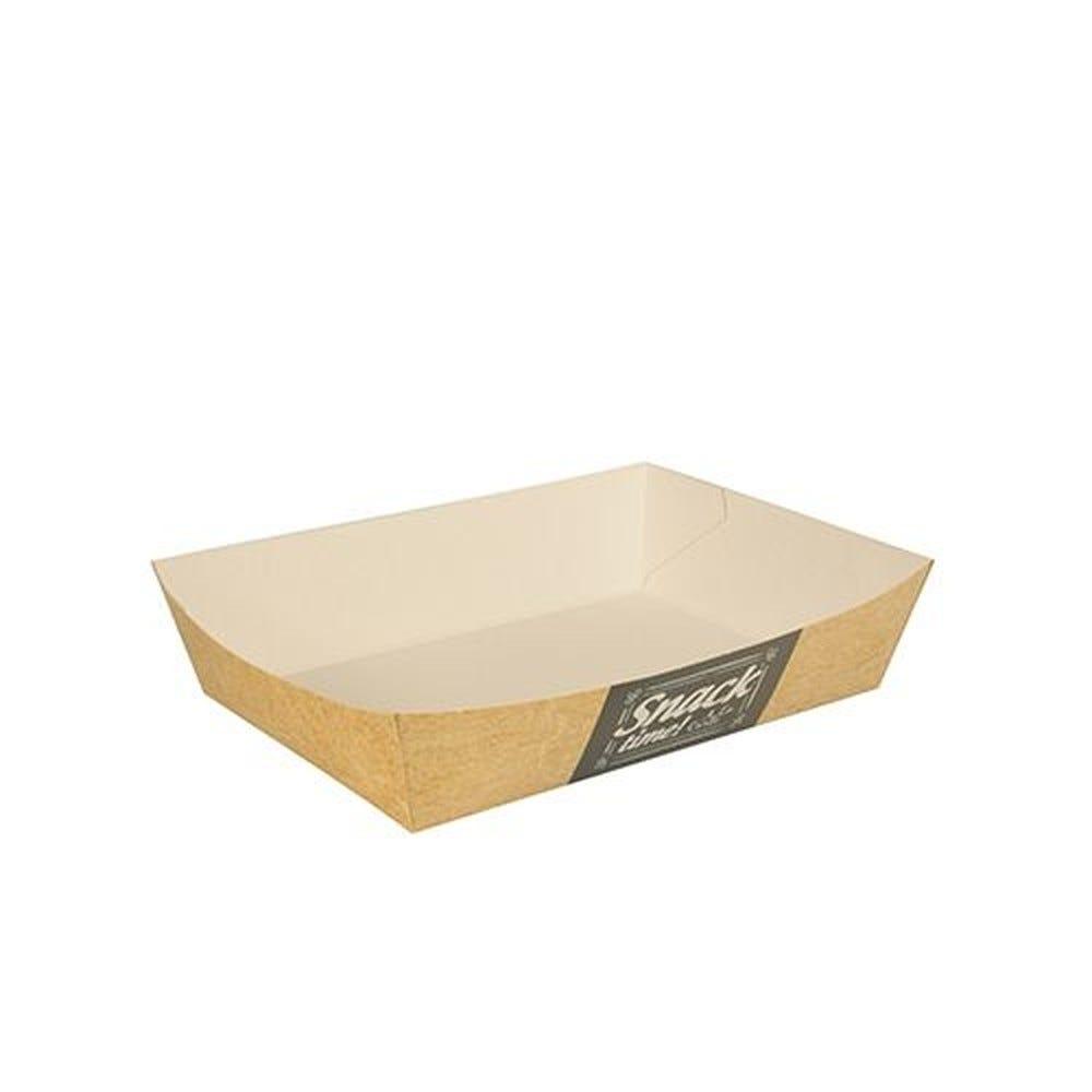 Barquette snack en carton fibres vierges 4 cm x 11 cm x 16 cm  par 400