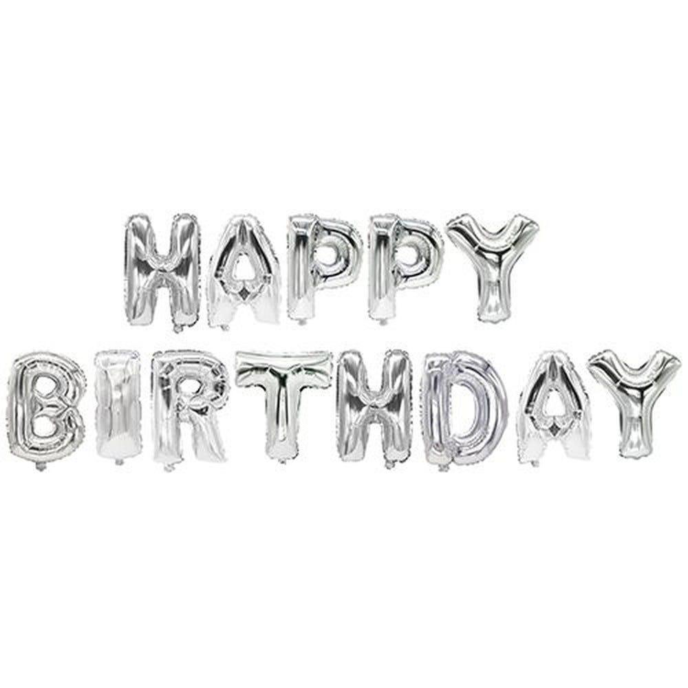 Ballon aluminium argent ''Happy Birthday'' par 12