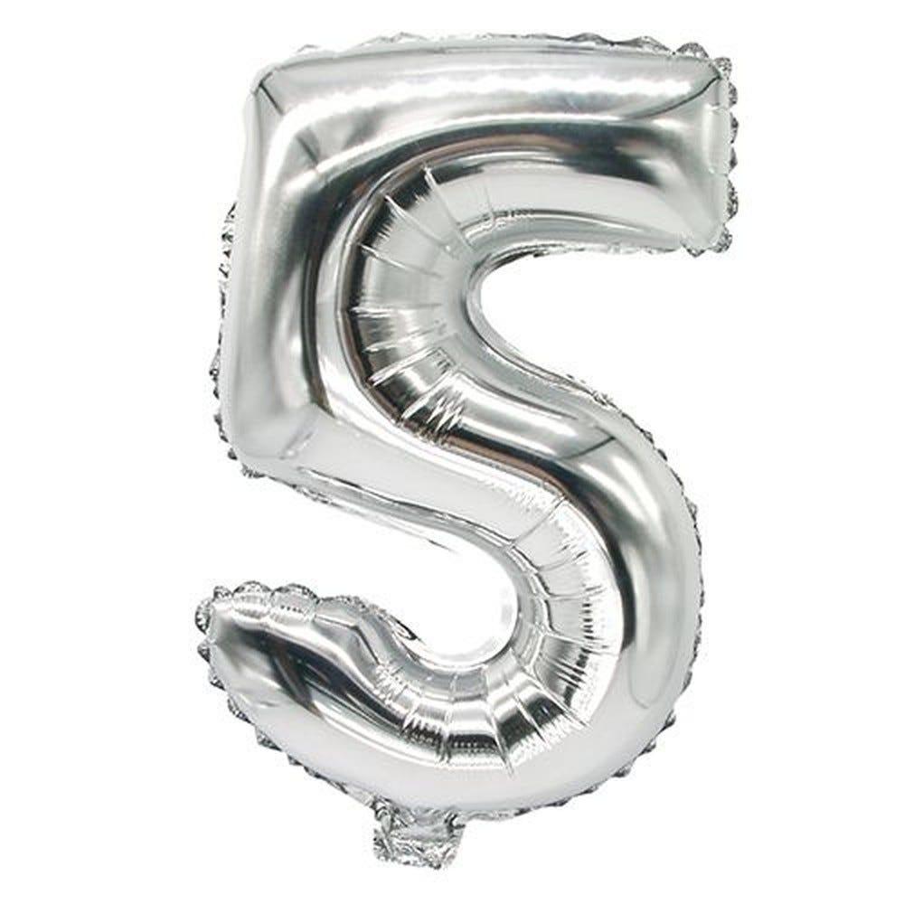 Ballon aluminium 35 cm x 20 cm argent ''5'' par 24