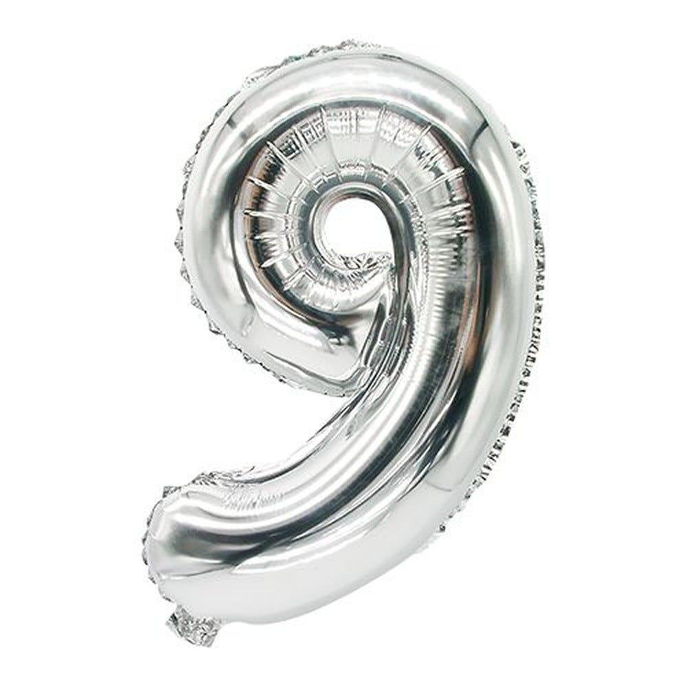 Ballon aluminium 35 cm x 20 cm argent ''9'' par 24