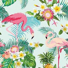 Serviette 3 plis pliage 1/4 33 cm x 33 cm ''Exotic Flamingos'' par 200