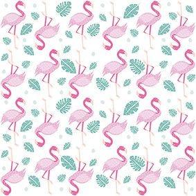 Serviette 3 plis pliage 1/4 33 cm x 33 cm ''Flamingos'' par 200