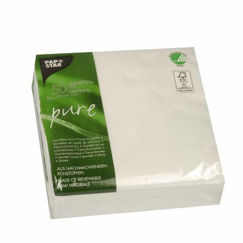 Serviette 2 plis ''pure'' pliage 1/4 33 cm x 33 cm blanc par 300