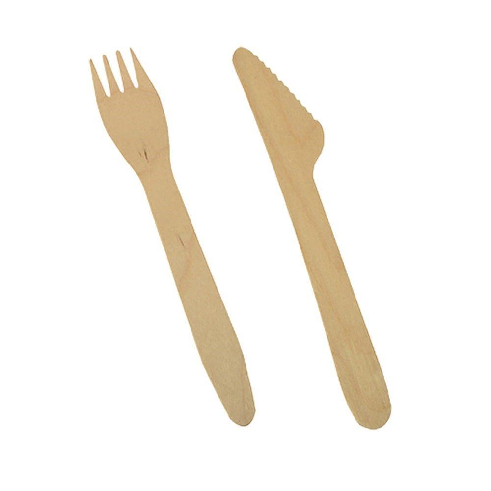 Couverts en bois ''pure'' 16,5 cm (Couteaux, fourchettes) par 500