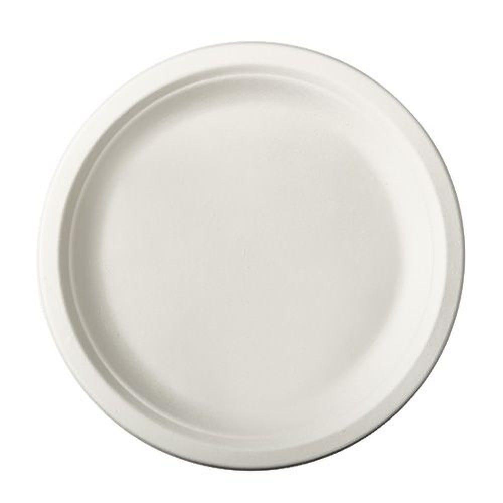 Assiette en canne à sucre ''pure'' ronde Ø 23 cm · 2 cm blanc par 100